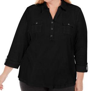 Karen Scott Polo Tunic Deep Black Size 2XL